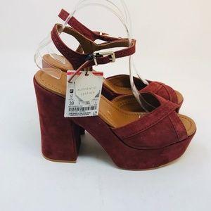 Zara Peep Toe Chunky Platform Heel 8 US Leather